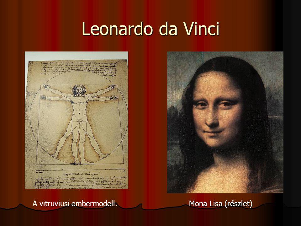 Leonardo da Vinci A vitruviusi embermodell. Mona Lisa (részlet) Önarckép