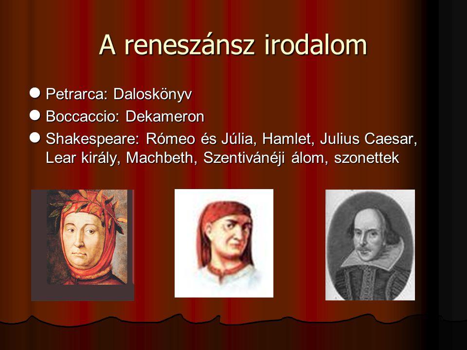 A reneszánsz irodalom Petrarca: Daloskönyv Petrarca: Daloskönyv Boccaccio: Dekameron Boccaccio: Dekameron Shakespeare: Rómeo és Júlia, Hamlet, Julius