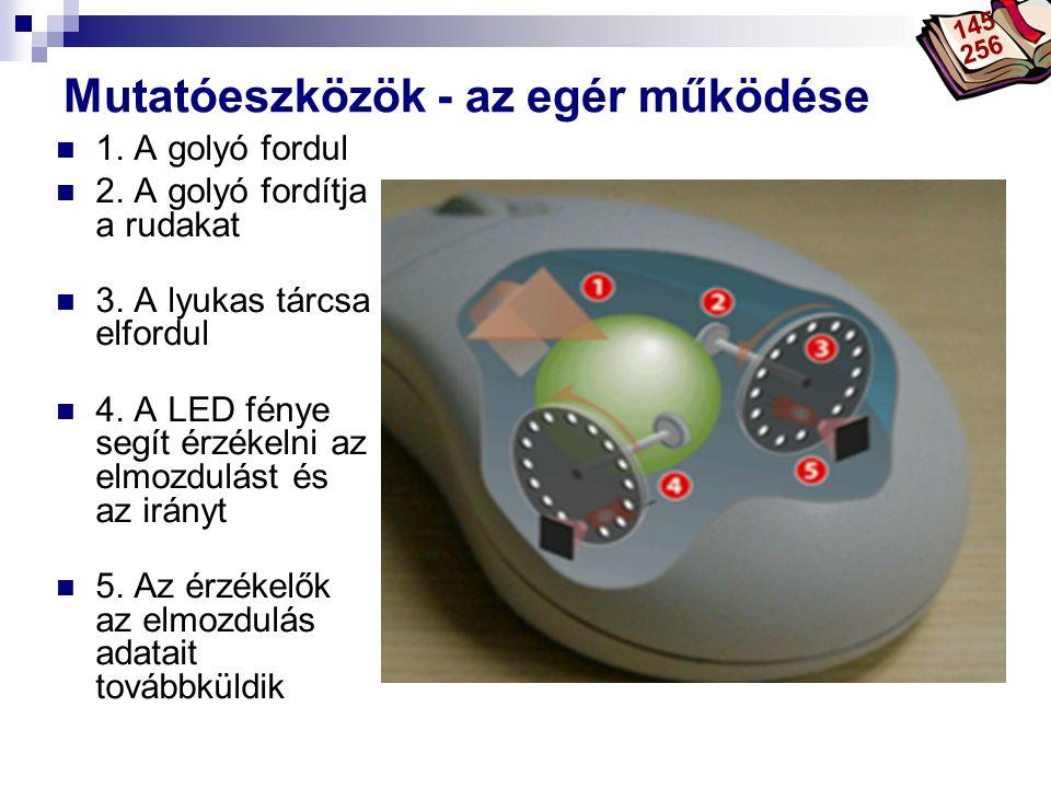 Bóta Laca Mutatóeszközök - az egér működése 1. A golyó fordul 2. A golyó fordítja a rudakat 3. A lyukas tárcsa elfordul 4. A LED fénye segít érzékelni