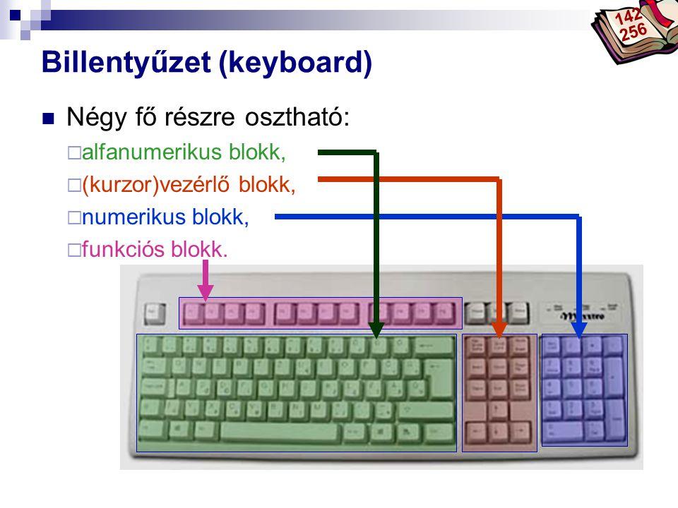 Bóta Laca Billentyűzet (keyboard) Négy fő részre osztható:  alfanumerikus blokk,  (kurzor)vezérlő blokk,  numerikus blokk,  funkciós blokk. 142 25