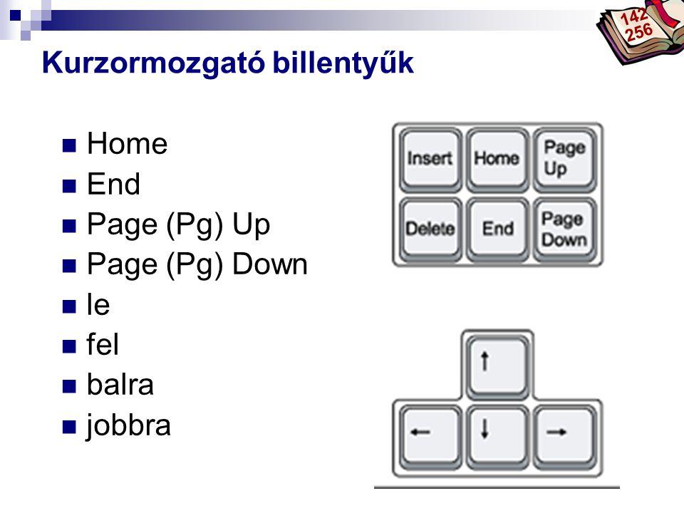 Bóta Laca Kurzormozgató billentyűk Home End Page (Pg) Up Page (Pg) Down le fel balra jobbra 142 256