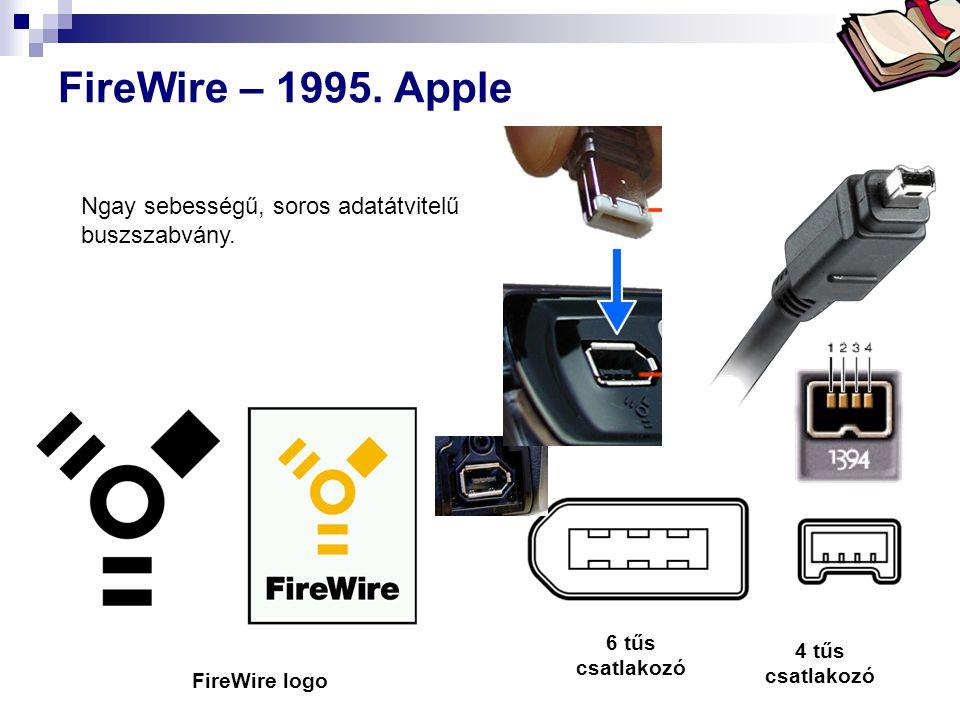 Bóta Laca FireWire – 1995. Apple 6 tűs csatlakozó 4 tűs csatlakozó FireWire logo Ngay sebességű, soros adatátvitelű buszszabvány.