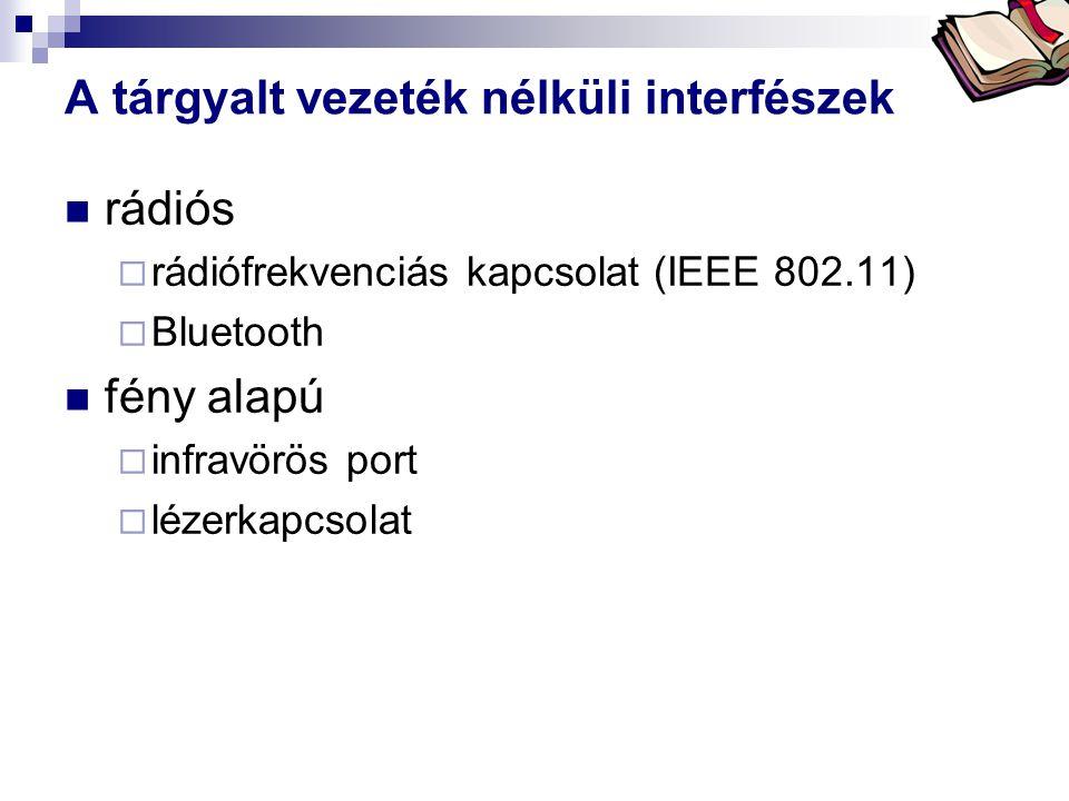 Bóta Laca A tárgyalt vezeték nélküli interfészek rádiós  rádiófrekvenciás kapcsolat (IEEE 802.11)  Bluetooth fény alapú  infravörös port  lézerkap