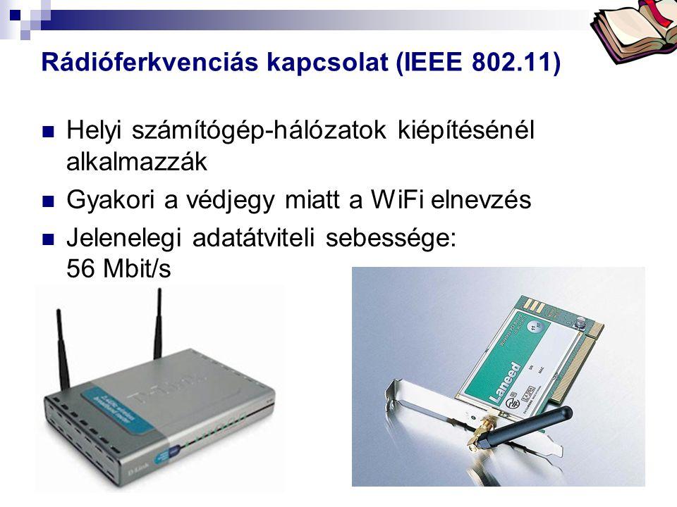 Bóta Laca Rádióferkvenciás kapcsolat (IEEE 802.11) Helyi számítógép-hálózatok kiépítésénél alkalmazzák Gyakori a védjegy miatt a WiFi elnevzés Jelenel