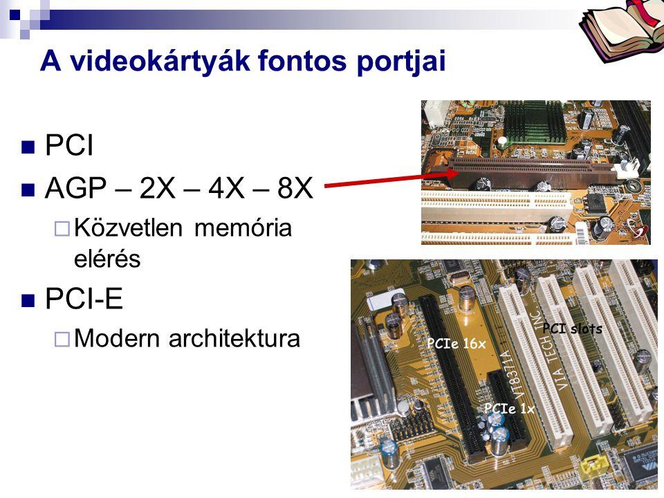 Bóta Laca A videokártyák fontos portjai PCI AGP – 2X – 4X – 8X  Közvetlen memória elérés PCI-E  Modern architektura