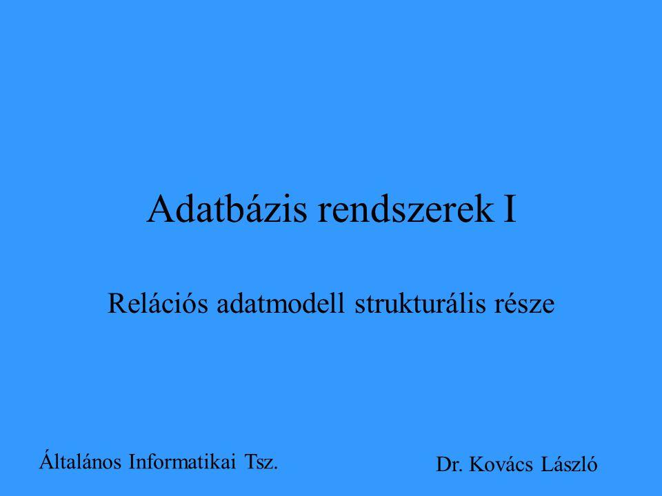 Adatbázis rendszerek I Relációs adatmodell strukturális része Általános Informatikai Tsz. Dr. Kovács László