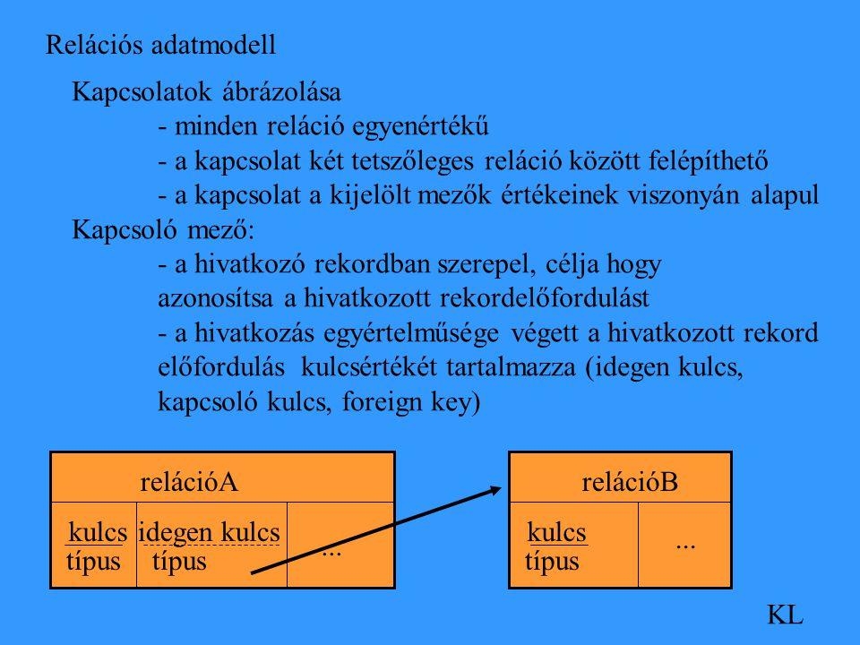 Relációs adatmodell KL Kapcsolatok ábrázolása - minden reláció egyenértékű - a kapcsolat két tetszőleges reláció között felépíthető - a kapcsolat a kijelölt mezők értékeinek viszonyán alapul Kapcsoló mező: - a hivatkozó rekordban szerepel, célja hogy azonosítsa a hivatkozott rekordelőfordulást - a hivatkozás egyértelműsége végett a hivatkozott rekord előfordulás kulcsértékét tartalmazza (idegen kulcs, kapcsoló kulcs, foreign key) relációA kulcs típus relációB kulcs típus...
