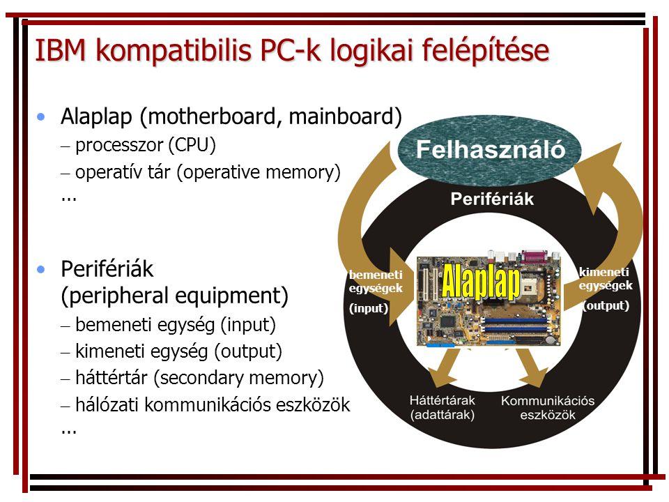 bemeneti egységek (input) kimeneti egységek (output) IBM kompatibilis PC-k logikai felépítése Alaplap (motherboard, mainboard) – processzor (CPU) – op