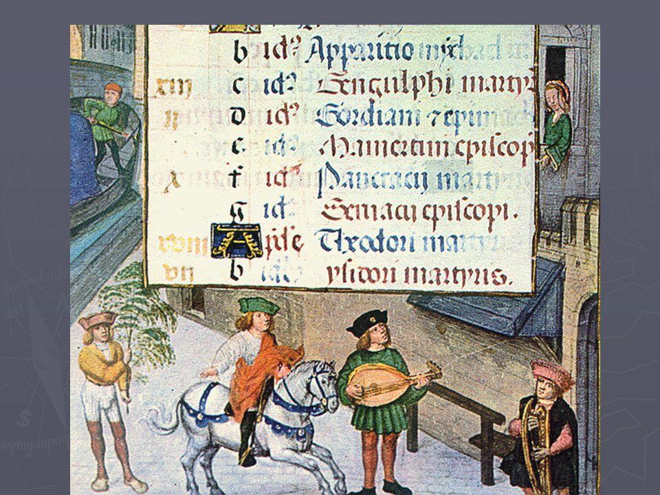A késő középkor lovagjai ► Az érett középkor lovagjai udvari lovagok, udvari szolgálatot teljesítenek. ► Feladatuk a hűbérúr és asszonya szórakoztatás