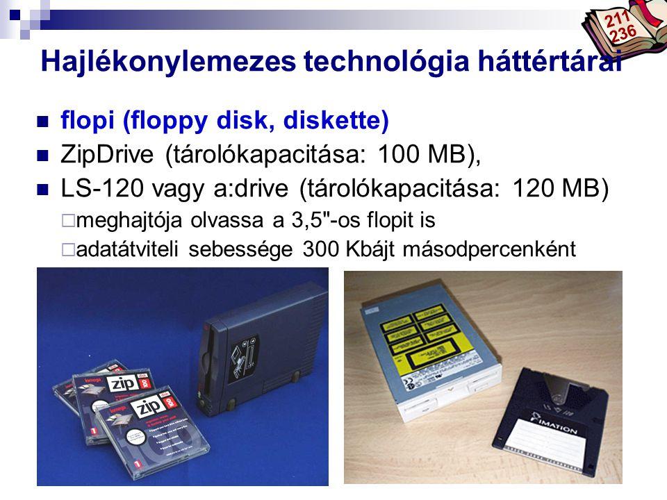 Bóta Laca Hajlékonylemezes technológia háttértárai flopi (floppy disk, diskette) ZipDrive (tárolókapacitása: 100 MB), LS-120 vagy a:drive (tárolókapacitása: 120 MB)  meghajtója olvassa a 3,5 -os flopit is  adatátviteli sebessége 300 Kbájt másodpercenként 211 236
