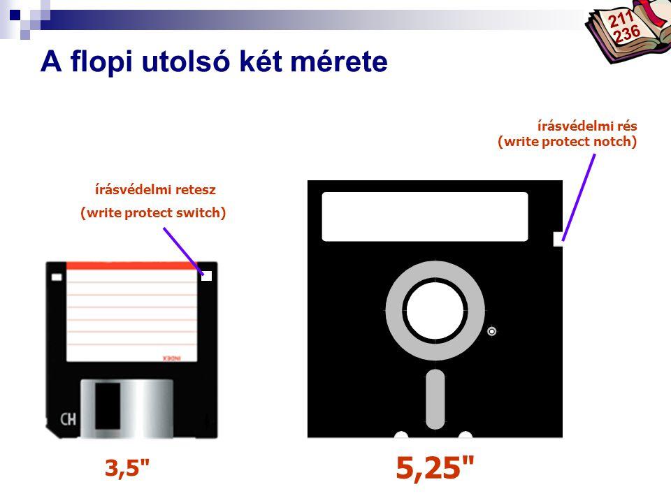 Bóta Laca A flopi utolsó két mérete 3,5 5,25 írásvédelmi retesz (write protect switch) írásvédelmi rés (write protect notch) 211 236