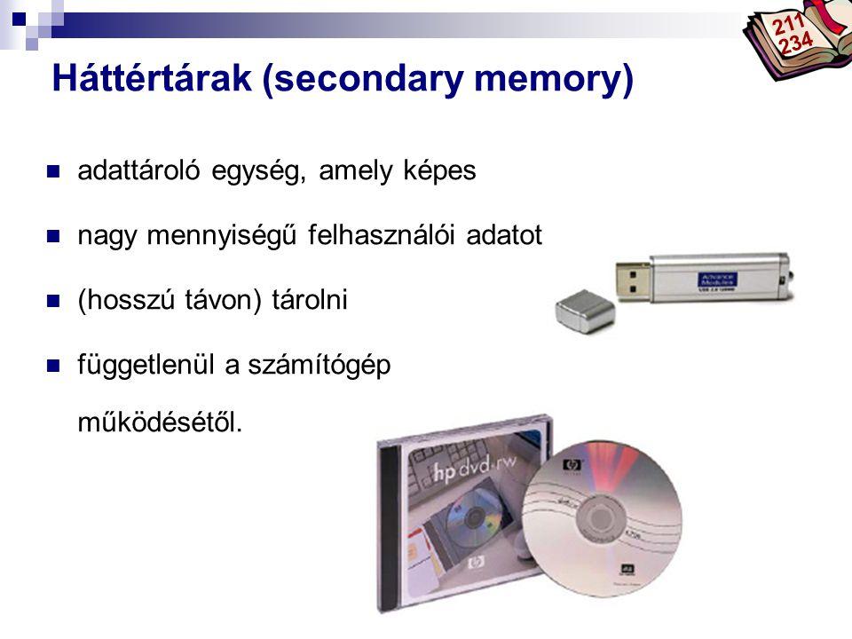 Bóta Laca Háttértárak (secondary memory) adattároló egység, amely képes nagy mennyiségű felhasználói adatot (hosszú távon) tárolni függetlenül a számítógép működésétől.
