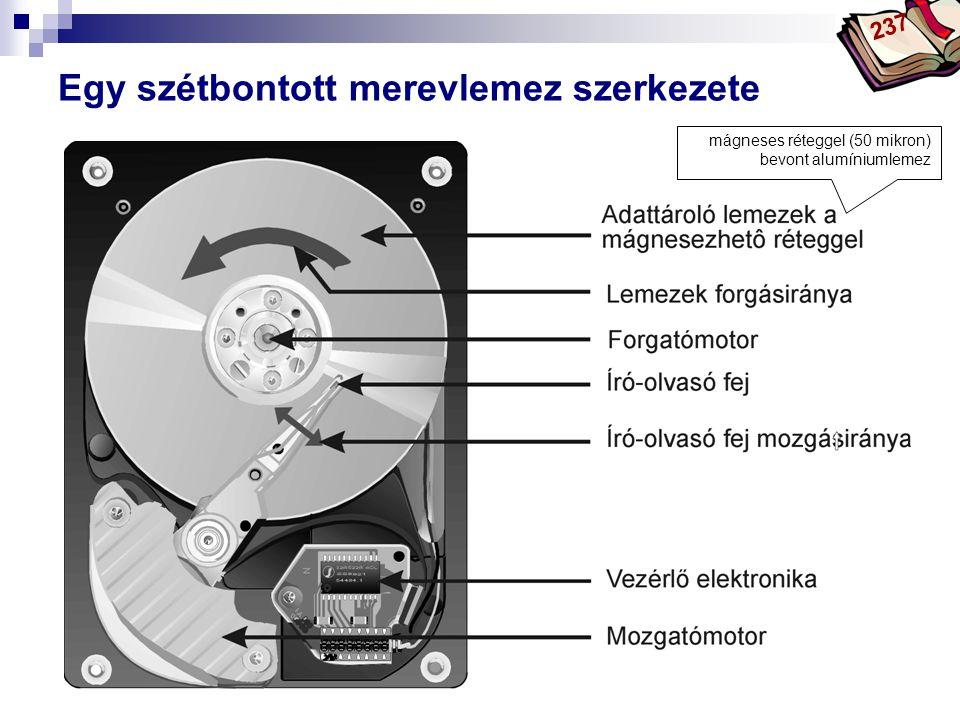 Bóta Laca Egy szétbontott merevlemez szerkezete mágneses réteggel (50 mikron) bevont alumíniumlemez 237
