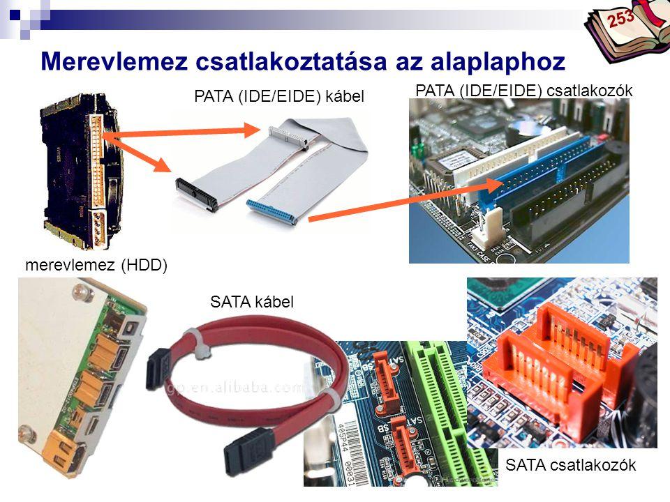 Bóta Laca Merevlemez csatlakoztatása az alaplaphoz merevlemez (HDD) PATA (IDE/EIDE) kábel PATA (IDE/EIDE) csatlakozók SATA kábel SATA csatlakozók 253