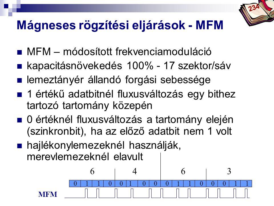 Bóta Laca Mágneses rögzítési eljárások - MFM MFM – módosított frekvenciamoduláció kapacitásnövekedés 100% - 17 szektor/sáv lemeztányér állandó forgási sebessége 1 értékű adatbitnél fluxusváltozás egy bithez tartozó tartomány közepén 0 értéknél fluxusváltozás a tartomány elején (szinkronbit), ha az előző adatbit nem 1 volt hajlékonylemezeknél használják, merevlemezeknél elavult 0111001100001 1 00 6463 MFM 234