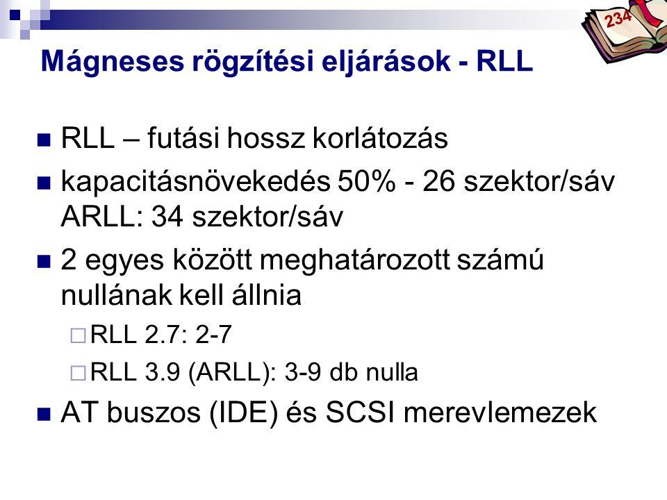 Bóta Laca Mágneses rögzítési eljárások - RLL RLL – futási hossz korlátozás kapacitásnövekedés 50% - 26 szektor/sáv ARLL: 34 szektor/sáv 2 egyes között meghatározott számú nullának kell állnia  RLL 2.7: 2-7  RLL 3.9 (ARLL): 3-9 db nulla AT buszos (IDE) és SCSI merevlemezek 234