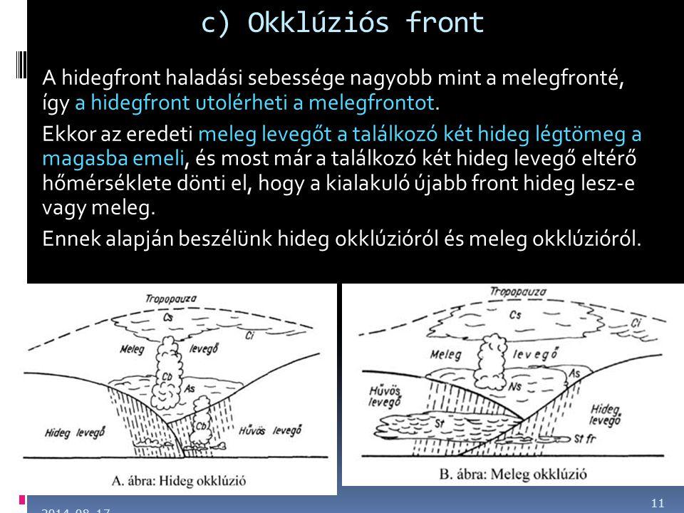 c) Okklúziós front A hidegfront haladási sebessége nagyobb mint a melegfronté, így a hidegfront utolérheti a melegfrontot. Ekkor az eredeti meleg leve
