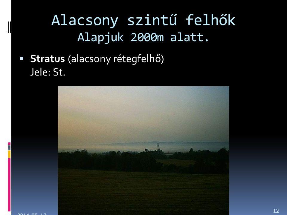 Alacsony szintű felhők Alapjuk 2000m alatt.  Stratus (alacsony rétegfelhő) Jele: St. 2014. 08. 17. 12