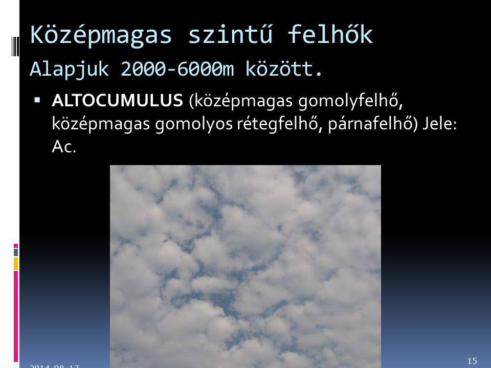 Középmagas szintű felhők Alapjuk 2000-6000m között.  ALTOCUMULUS (középmagas gomolyfelhő, középmagas gomolyos rétegfelhő, párnafelhő) Jele: Ac. 2014.