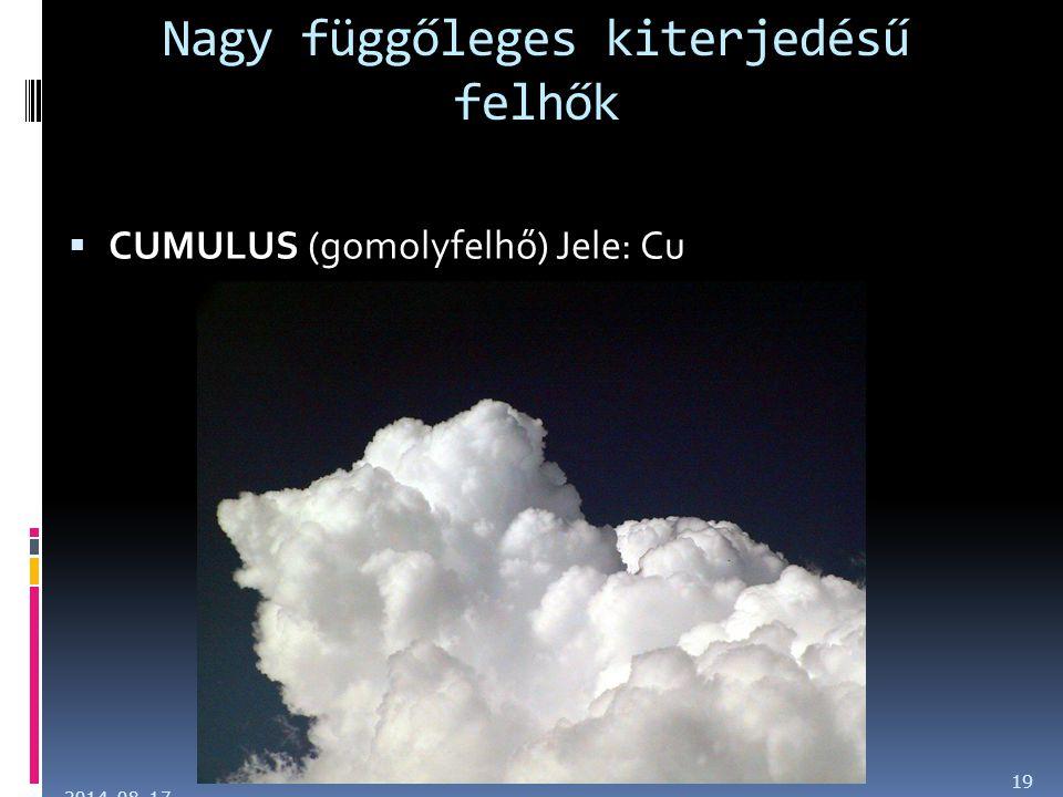 Nagy függőleges kiterjedésű felhők  CUMULUS (gomolyfelhő) Jele: Cu 2014. 08. 17. 19
