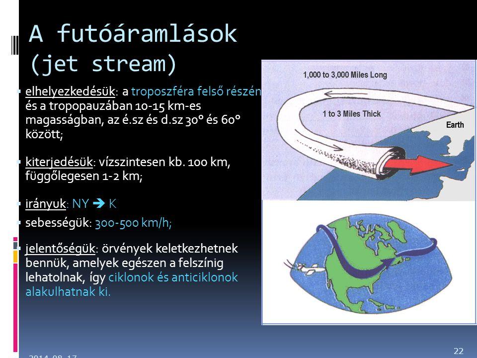 A futóáramlások (jet stream)  elhelyezkedésük: a troposzféra felső részén és a tropopauzában 10-15 km-es magasságban, az é.sz és d.sz 30° és 60° közö