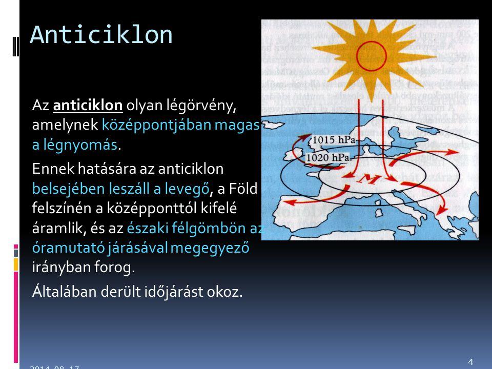 Anticiklon Az anticiklon olyan légörvény, amelynek középpontjában magas a légnyomás. Ennek hatására az anticiklon belsejében leszáll a levegő, a Föld