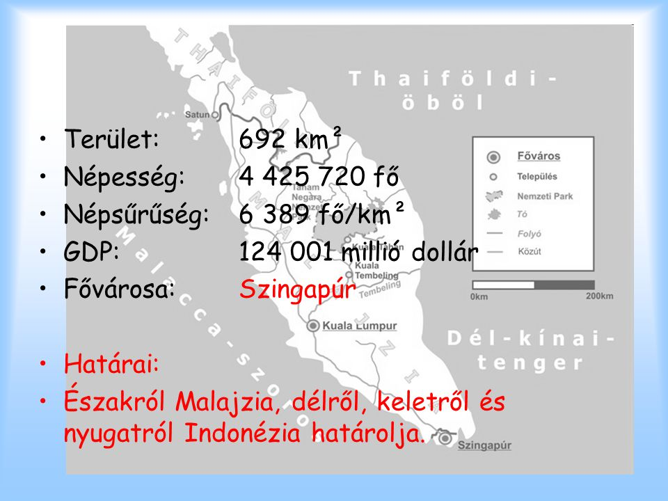 Szingapúr Terület:692 km² Népesség:4 425 720 fő Népsűrűség:6 389 fő/km² GDP:124 001 millió dollár Fővárosa:Szingapúr Határai: Északról Malajzia, délrő
