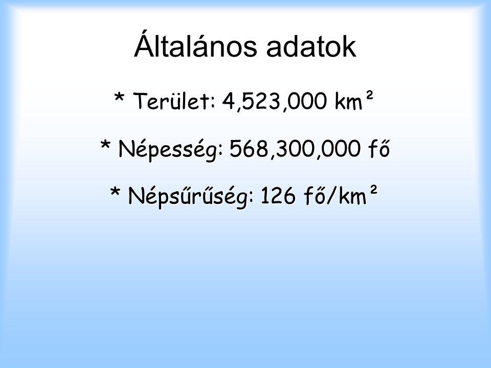 Általános adatok * Terület: 4,523,000 km² * Népesség: 568,300,000 fő * Népsűrűség: 126 fő/km²