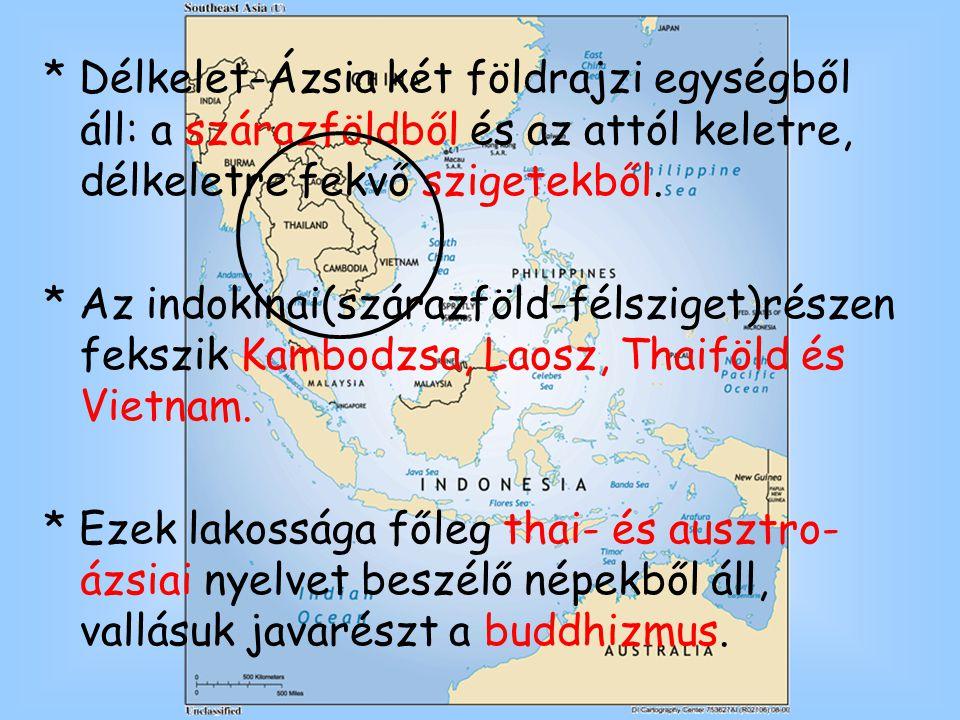 * Délkelet-Ázsia két földrajzi egységből áll: a szárazföldből és az attól keletre, délkeletre fekvő szigetekből. * Az indokínai(szárazföld-félsziget)r