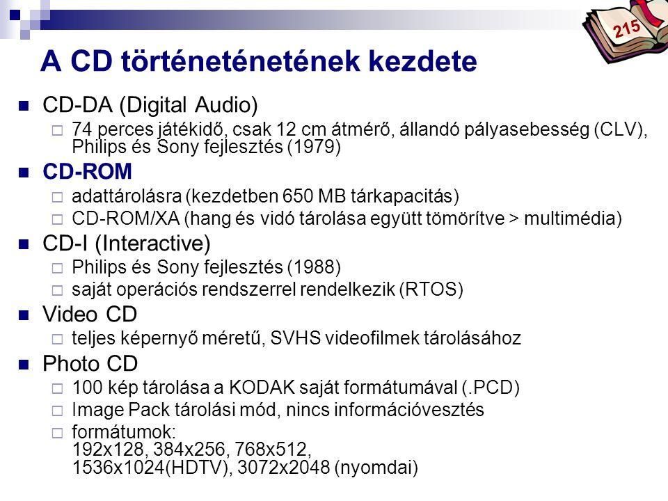 Bóta Laca A CD történeténetének kezdete CD-DA (Digital Audio)  74 perces játékidő, csak 12 cm átmérő, állandó pályasebesség (CLV), Philips és Sony fe