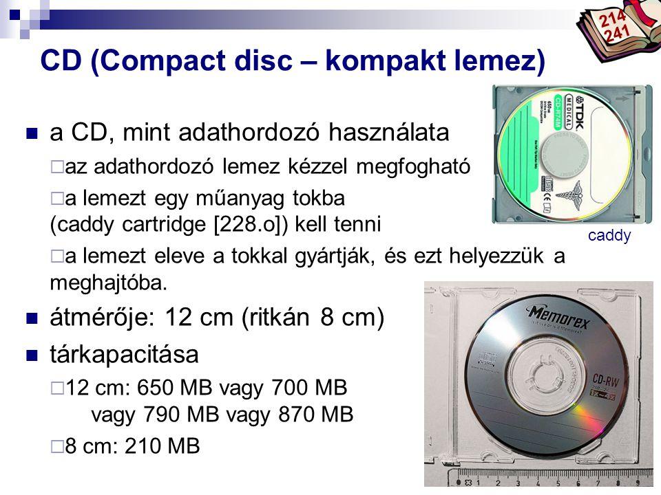 Bóta Laca CD (Compact disc – kompakt lemez) a CD, mint adathordozó használata  az adathordozó lemez kézzel megfogható  a lemezt egy műanyag tokba (c