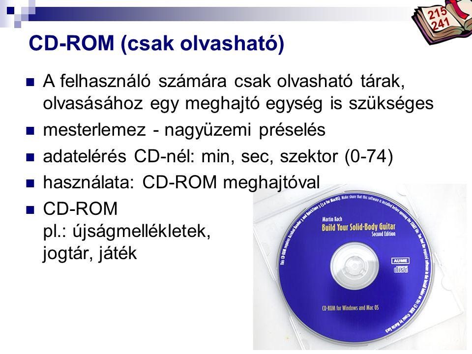 Bóta Laca CD-ROM (csak olvasható) A felhasználó számára csak olvasható tárak, olvasásához egy meghajtó egység is szükséges mesterlemez - nagyüzemi pré