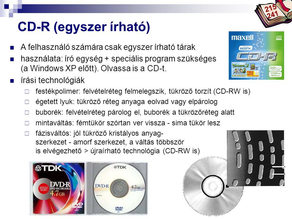 Bóta Laca CD-R (egyszer írható) A felhasználó számára csak egyszer írható tárak használata: író egység + speciális program szükséges (a Windows XP elő