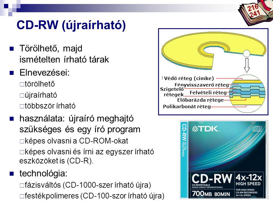 Bóta Laca CD-RW (újraírható) Törölhető, majd ismételten írható tárak Elnevezései:  törölhető  újraírható  többször írható használata: újraíró megha