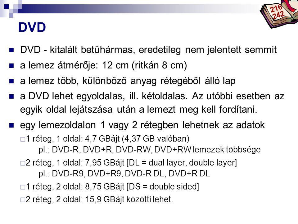 Bóta Laca DVD DVD - kitalált betűhármas, eredetileg nem jelentett semmit a lemez átmérője: 12 cm (ritkán 8 cm) a lemez több, különböző anyag rétegéből