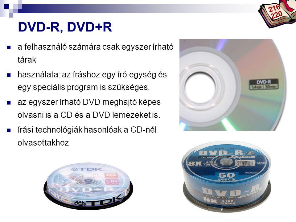 Bóta Laca DVD-R, DVD+R a felhasználó számára csak egyszer írható tárak használata: az íráshoz egy író egység és egy speciális program is szükséges. az