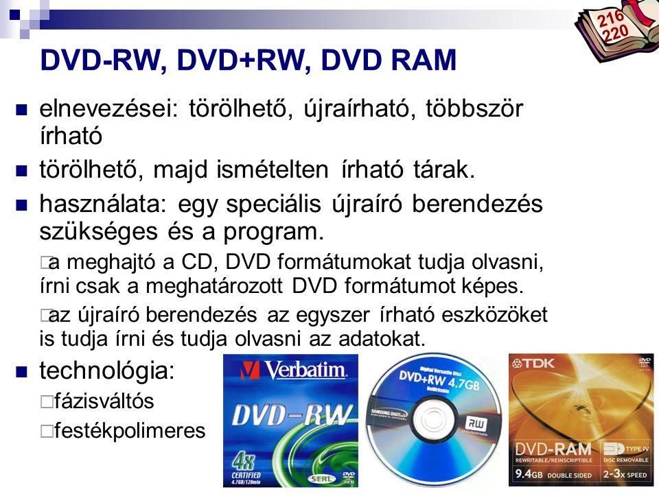 Bóta Laca DVD-RW, DVD+RW, DVD RAM elnevezései: törölhető, újraírható, többször írható törölhető, majd ismételten írható tárak. használata: egy speciál