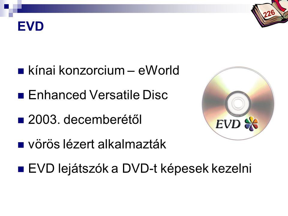 Bóta Laca EVD kínai konzorcium – eWorld Enhanced Versatile Disc 2003. decemberétől vörös lézert alkalmazták EVD lejátszók a DVD-t képesek kezelni 226