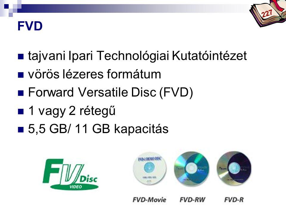 Bóta Laca FVD tajvani Ipari Technológiai Kutatóintézet vörös lézeres formátum Forward Versatile Disc (FVD) 1 vagy 2 rétegű 5,5 GB/ 11 GB kapacitás 227