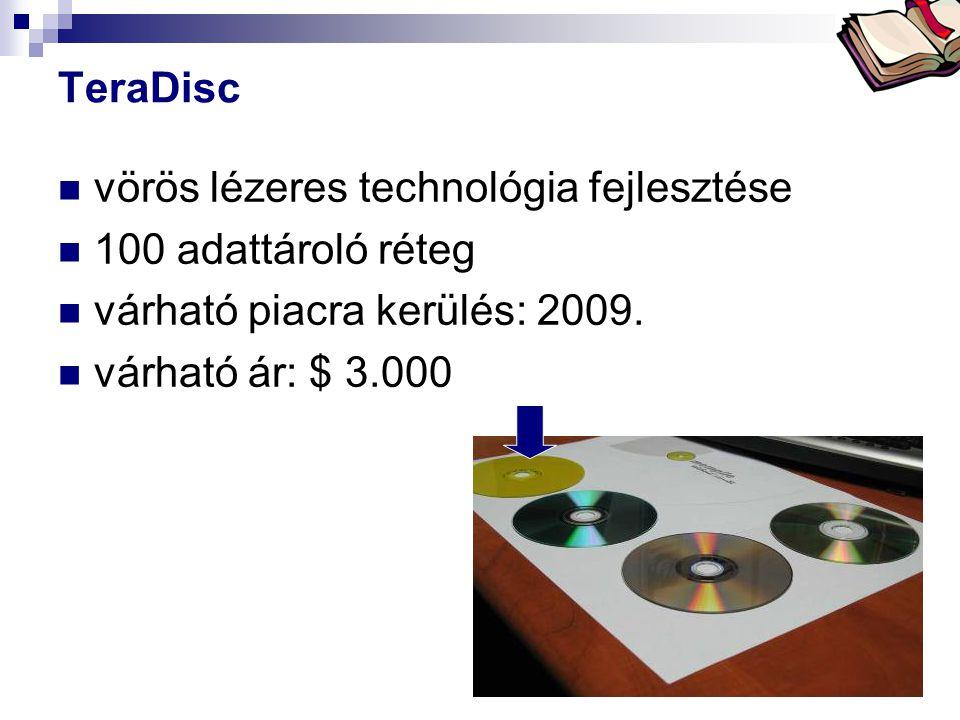 Bóta Laca TeraDisc vörös lézeres technológia fejlesztése 100 adattároló réteg várható piacra kerülés: 2009. várható ár: $ 3.000