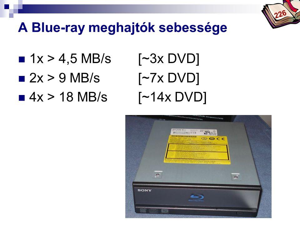 Bóta Laca A Blue-ray meghajtók sebessége 1x > 4,5 MB/s[~3x DVD] 2x > 9 MB/s[~7x DVD] 4x > 18 MB/s[~14x DVD] 226