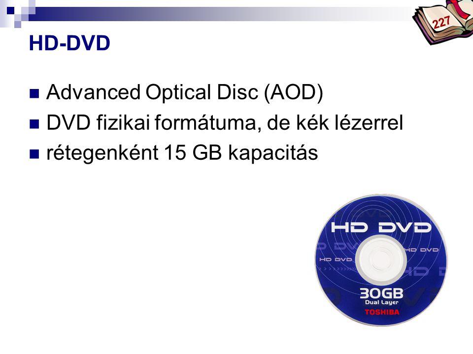 Bóta Laca HD-DVD Advanced Optical Disc (AOD) DVD fizikai formátuma, de kék lézerrel rétegenként 15 GB kapacitás 227