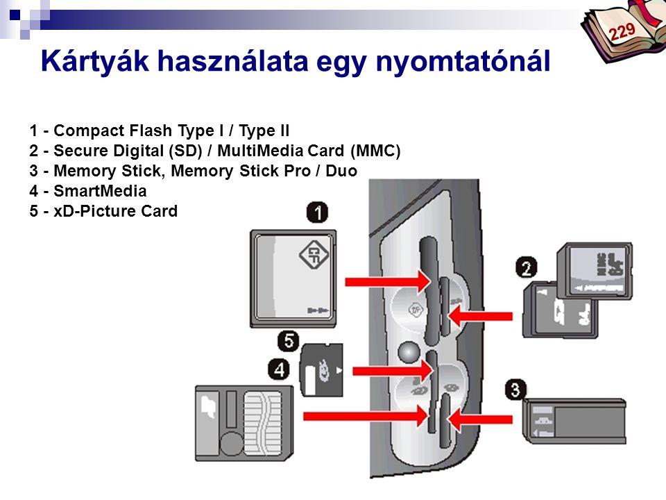 Bóta Laca Kártyák használata egy nyomtatónál 1 - Compact Flash Type I / Type II 2 - Secure Digital (SD) / MultiMedia Card (MMC) 3 - Memory Stick, Memo