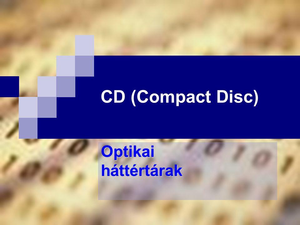 Bóta Laca A CD történeténetének kezdete CD-DA (Digital Audio)  74 perces játékidő, csak 12 cm átmérő, állandó pályasebesség (CLV), Philips és Sony fejlesztés (1979) CD-ROM  adattárolásra (kezdetben 650 MB tárkapacitás)  CD-ROM/XA (hang és vidó tárolása együtt tömörítve > multimédia) CD-I (Interactive)  Philips és Sony fejlesztés (1988)  saját operációs rendszerrel rendelkezik (RTOS) Video CD  teljes képernyő méretű, SVHS videofilmek tárolásához Photo CD  100 kép tárolása a KODAK saját formátumával (.PCD)  Image Pack tárolási mód, nincs információvesztés  formátumok: 192x128, 384x256, 768x512, 1536x1024(HDTV), 3072x2048 (nyomdai) 215