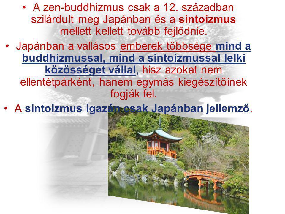 A zen-buddhizmus csak a 12. században szilárdult meg Japánban és a sintoizmus mellett kellett tovább fejlődnie. Japánban a vallásos emberek többsége m