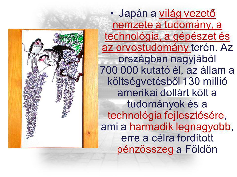 Japán a világ vezető nemzete a tudomány, a technológia, a gépészet és az orvostudomány terén. Az országban nagyjából 700 000 kutató él, az állam a köl