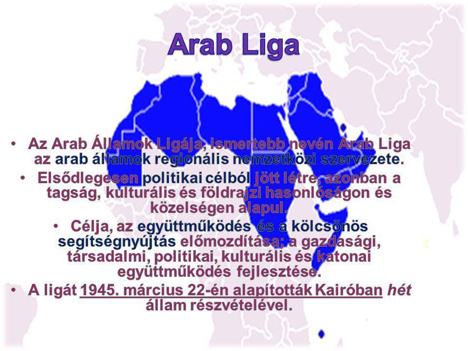Az Arab Liga jelenlegi tagjai Egyiptom – (alapító) Irak – (alapító) Jordánia – (alapító) Libanon– (alapító) Szaúd-Arábia– (alapító) Szíria – (alapító) Jemen – (alapító) Líbia – Líbia Szudán – Szudán Marokkó – Marokkó Tunézia – Tunézia Kuvait – Kuvait Algéria – Algéria Egyesült Arab Emírségek – Egyesült Arab Emírségek Bahrein – Bahrein Katar – Katar Omán – Omán Mauritánia – Mauritánia Szomália – Szomália Palesztina Palesztina Dzsibuti – Dzsibuti Comore-szigetek – 1 Comore-szigetek1 Eritrea – (megfigyelői státusz) Eritrea India –megfigyelői státusz) India