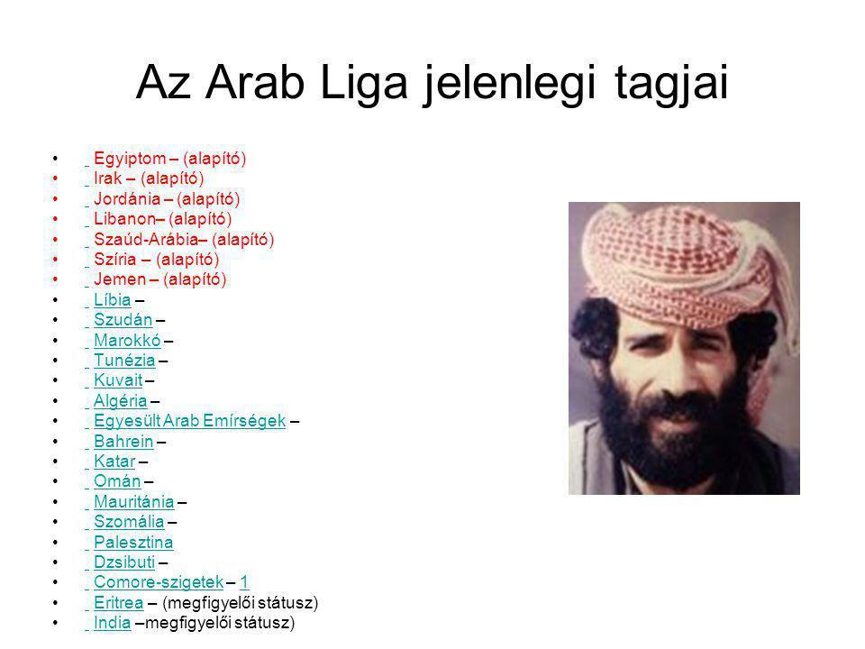 Az Arab Liga jelenlegi tagjai Egyiptom – (alapító) Irak – (alapító) Jordánia – (alapító) Libanon– (alapító) Szaúd-Arábia– (alapító) Szíria – (alapító)
