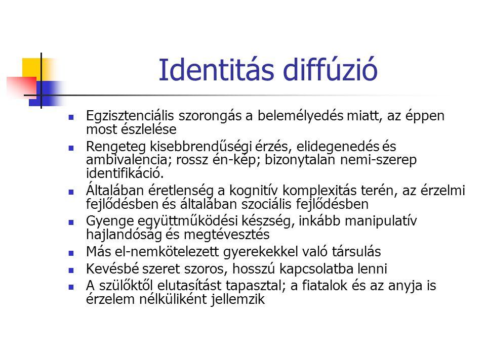 Identitás diffúzió Egzisztenciális szorongás a belemélyedés miatt, az éppen most észlelése Rengeteg kisebbrendűségi érzés, elidegenedés és ambivalenci