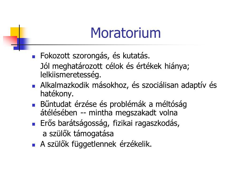Moratorium Fokozott szorongás, és kutatás. Jól meghatározott célok és értékek hiánya; lelkiismeretesség. Alkalmazkodik másokhoz, és szociálisan adaptí